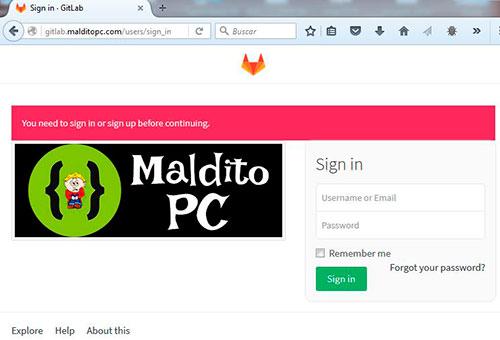 GitLab malditopc.com login page